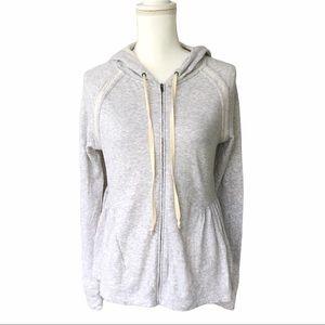 Anthropologie peplum zip up gray marbled hoodie L